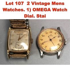 Lot 107 2 Vintage Mens Watches. 1 OMEGA Watch Dial. Stai