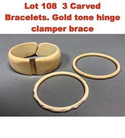 Lot 108 3 Carved Bracelets. Gold tone hinge clamper brace