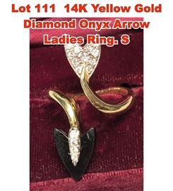 Lot 111 14K Yellow Gold Diamond Onyx Arrow Ladies Ring. S