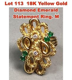 Lot 113 18K Yellow Gold Diamond Emerald Statement Ring. M