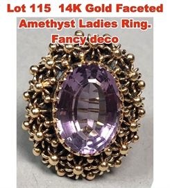 Lot 115 14K Gold Faceted Amethyst Ladies Ring. Fancy deco