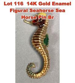 Lot 116 14K Gold Enamel Figural Seahorse Sea Horse Pin Br
