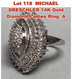 Lot 118 MICHAEL DRESCHLER 14K Gold Diamond Ladies Ring. A