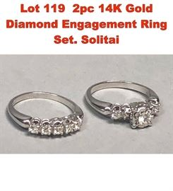 Lot 119 2pc 14K Gold Diamond Engagement Ring Set. Solitai