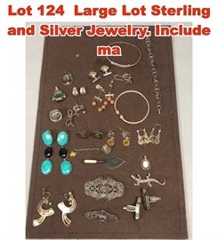 Lot 124 Large Lot Sterling and Silver Jewelry. Include ma
