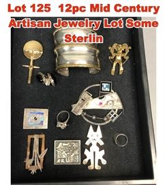 Lot 125 12pc Mid Century Artisan Jewelry Lot Some Sterlin