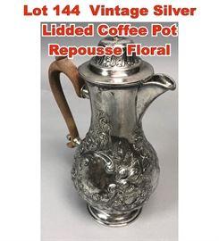 Lot 144 Vintage Silver Lidded Coffee Pot Repousse Floral