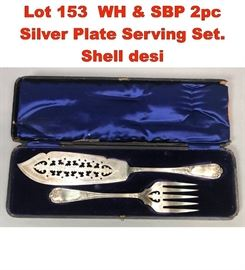 Lot 153 WH  SBP 2pc Silver Plate Serving Set. Shell desi