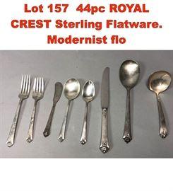 Lot 157 44pc ROYAL CREST Sterling Flatware. Modernist flo