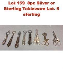 Lot 159 8pc Silver or Sterling Tableware Lot. 5 sterling