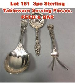 Lot 161 3pc Sterling Tableware Serving Pieces. REED  BAR