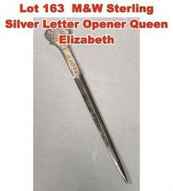 Lot 163 MW Sterling Silver Letter Opener Queen Elizabeth
