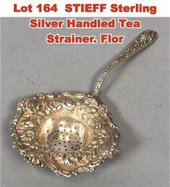 Lot 164 STIEFF Sterling Silver Handled Tea Strainer. Flor