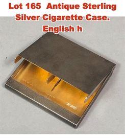 Lot 165 Antique Sterling Silver Cigarette Case. English h