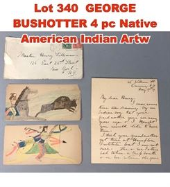 Lot 340 GEORGE BUSHOTTER 4 pc Native American Indian Artw