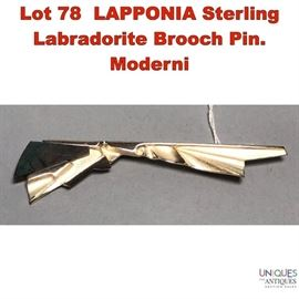 Lot 78 LAPPONIA Sterling Labradorite Brooch Pin. Moderni