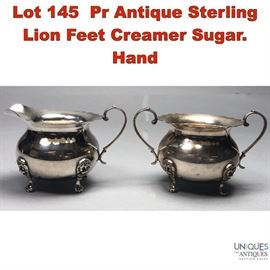 Lot 145 Pr Antique Sterling Lion Feet Creamer Sugar. Hand