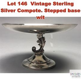 Lot 146 Vintage Sterling Silver Compote. Stepped base wit