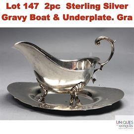 Lot 147 2pc Sterling Silver Gravy Boat  Underplate. Gra
