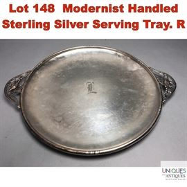 Lot 148 Modernist Handled Sterling Silver Serving Tray. R