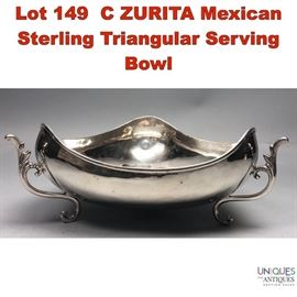 Lot 149 C ZURITA Mexican Sterling Triangular Serving Bowl
