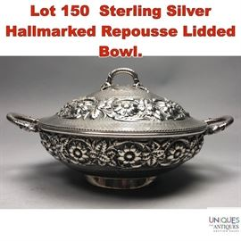 Lot 150 Sterling Silver Hallmarked Repousse Lidded Bowl.