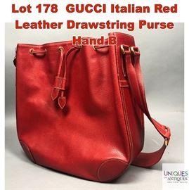 Lot 178 GUCCI Italian Red Leather Drawstring Purse Hand B