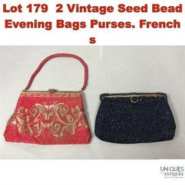 Lot 179 2 Vintage Seed Bead Evening Bags Purses. French s