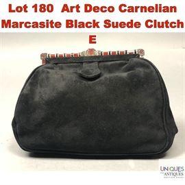 Lot 180 Art Deco Carnelian Marcasite Black Suede Clutch E