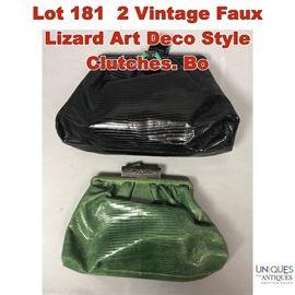 Lot 181 2 Vintage Faux Lizard Art Deco Style Clutches. Bo