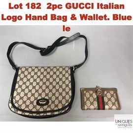 Lot 182 2pc GUCCI Italian Logo Hand Bag  Wallet. Blue le