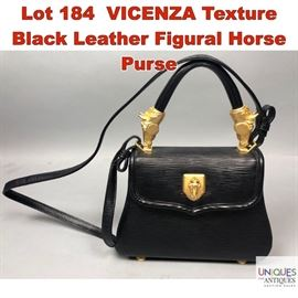 Lot 184 VICENZA Texture Black Leather Figural Horse Purse