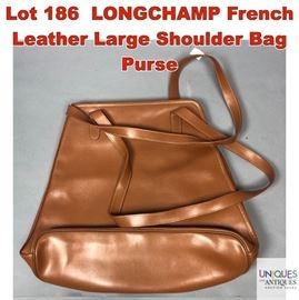 Lot 186 LONGCHAMP French Leather Large Shoulder Bag Purse
