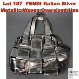 Lot 187 FENDI Italian Silver Metallic Woven Oversized Han