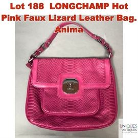 Lot 188 LONGCHAMP Hot Pink Faux Lizard Leather Bag. Anima