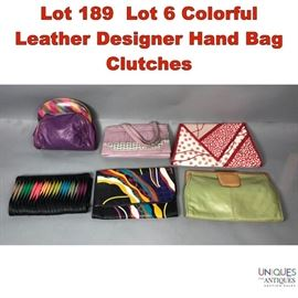 Lot 189 Lot 6 Colorful Leather Designer Hand Bag Clutches