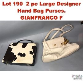 Lot 190 2 pc Large Designer Hand Bag Purses. GIANFRANCO F