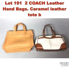 Lot 191 2 COACH Leather Hand Bags. Caramel leather tote b