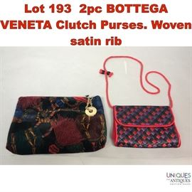Lot 193 2pc BOTTEGA VENETA Clutch Purses. Woven satin rib