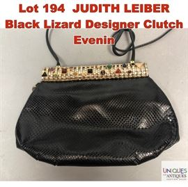Lot 194 JUDITH LEIBER Black Lizard Designer Clutch Evenin