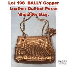 Lot 198 BALLY Copper Leather Quilted Purse Shoulder Bag.