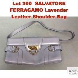 Lot 200 SALVATORE FERRAGAMO Lavender Leather Shoulder Bag