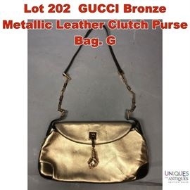 Lot 202 GUCCI Bronze Metallic Leather Clutch Purse Bag. G