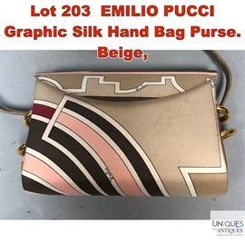 Lot 203 EMILIO PUCCI Graphic Silk Hand Bag Purse. Beige,