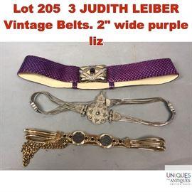 Lot 205 3 JUDITH LEIBER Vintage Belts
