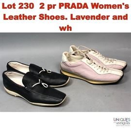 Lot 230 2 pr PRADA Womens Leather Shoes. Lavender and wh