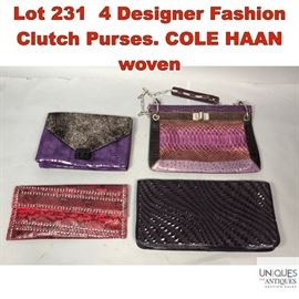 Lot 231 4 Designer Fashion Clutch Purses. COLE HAAN woven