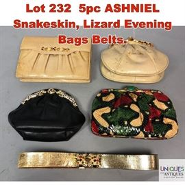 Lot 232 5pc ASHNIEL Snakeskin, Lizard Evening Bags Belts.
