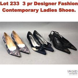 Lot 233 3 pr Designer Fashion Contemporary Ladies Shoes.