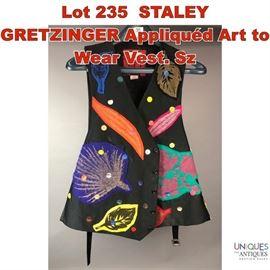 Lot 235 STALEY GRETZINGER Appliqued Art to Wear Vest. Sz